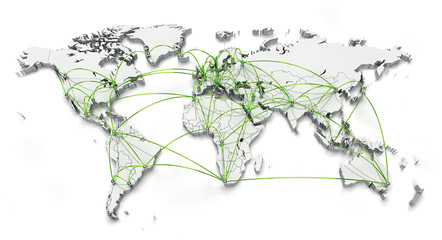 World connections - Green isolated