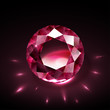 Realistic shiny ruby on black background with light reflections