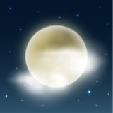 Cloudy night with full moon - weather illustration - eps10