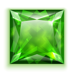 Princess cut emerald illustration