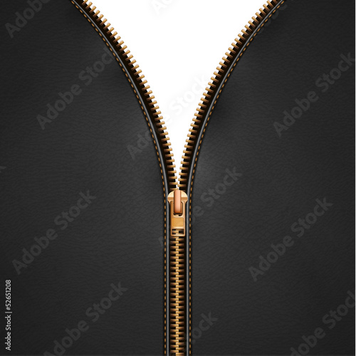 Black leather background with open metallic zipper