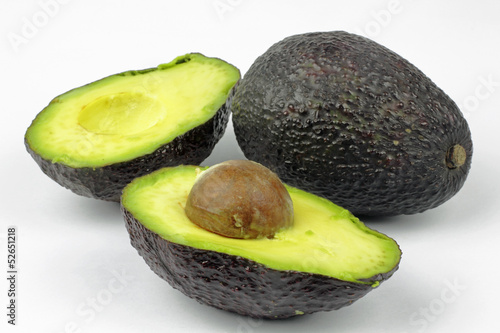 close up of avocado on the white background