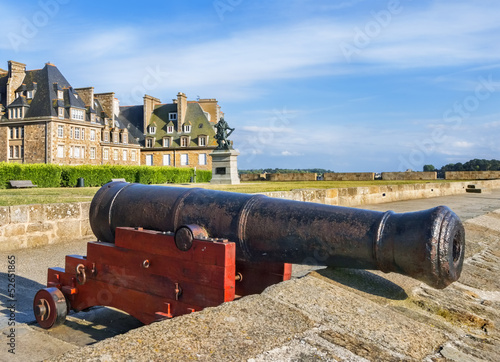 Old canon on a rampart of Saint Malo