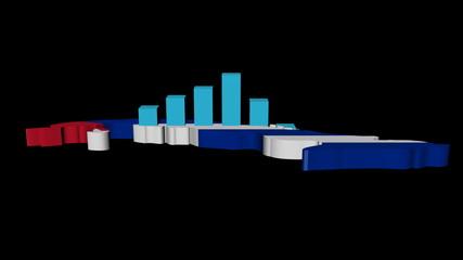 graph on Cuba map flag animation