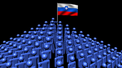 pyramid of men with rippling Slovenia flag animation