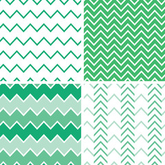 Vector set of four emerald green chevron patterns and
