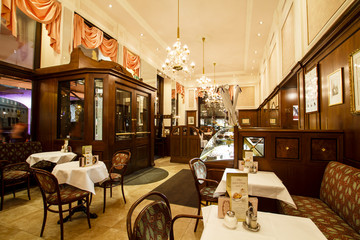 Mozart coffee house interior, Vienna