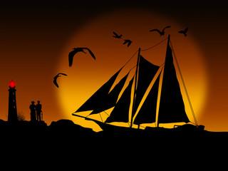 Ancient ship sailing at sunset