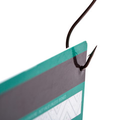 Credit card on a fishing hook