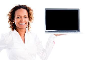 Business woman with a computer