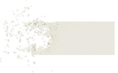 3D banner desintegrating