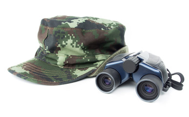 Khaki cap with binoculars