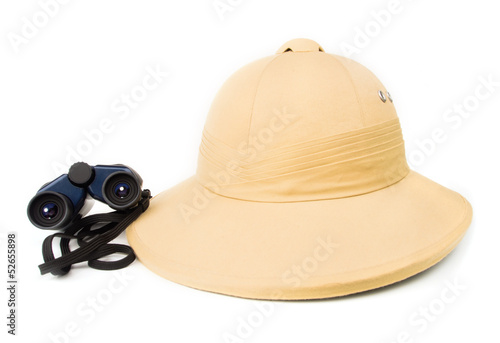 Safari hat with binoculars.