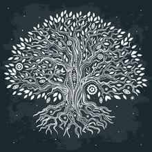 Belle main Vintage arbre tiré de la vie