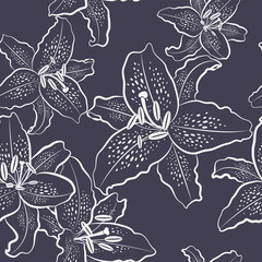 Seamless pattern, white lily on a black background