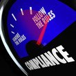 Compliance Gauge Measuring Following Rules Compliant