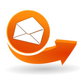 courrier sur bouton web orange