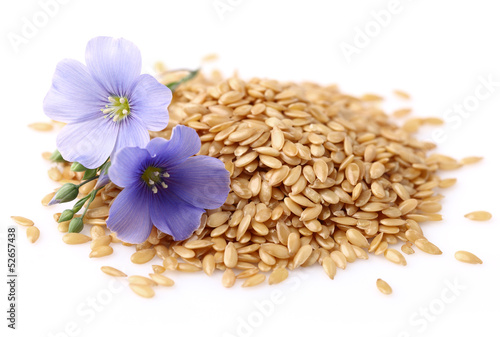 Flax seeds with flowers