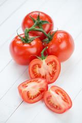 Still life food: tomatoes, vertical shot