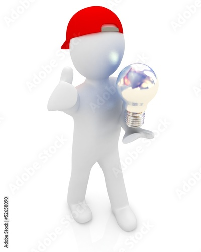 3d man with energy saving light bulb isolated on white