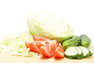 Assorted sliced ​​fresh vegetables