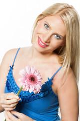 Junge Frau mit Blume.Portrait-Serie..