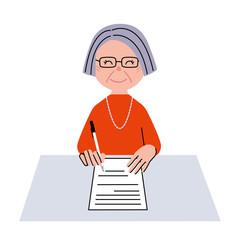 シニア 女性 書類