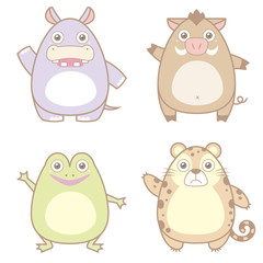 illustration of cute animal icon collection