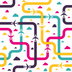 Seamless pattern with colorful airplanes. Vector illustration.