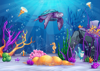 Illustration of the underwater world with fish and turtle. © nearbirds