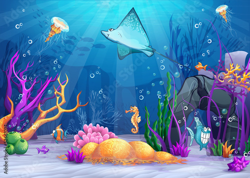 Illustration of the underwater world with fish ramp.