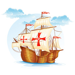 Cartoon image of a sailing ship of Spain