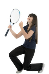Winner. Young woman celebrating victory in a tennis match