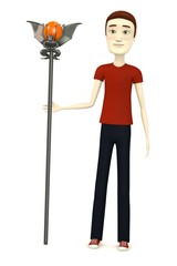 3d render of cartoon character with staff