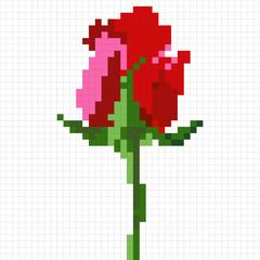 Simplistic pixel rose