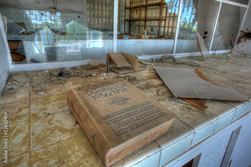 Book, Vandalized laboratory, Abandoned sugar factory