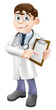 Doctor Holding Clipboard Cartoon