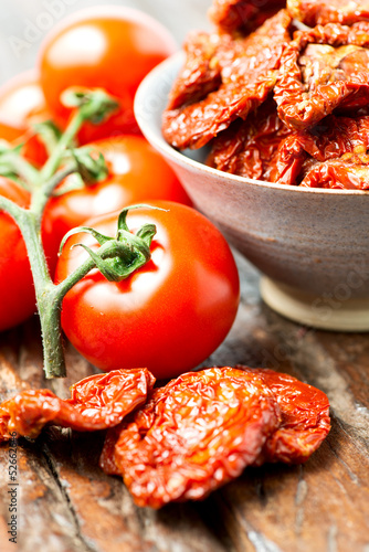 Set of dry and fresh tomatoes