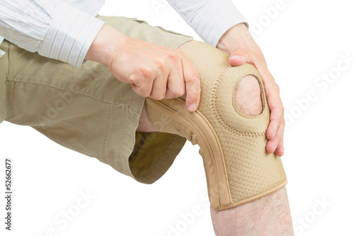Neoprene knee brace.