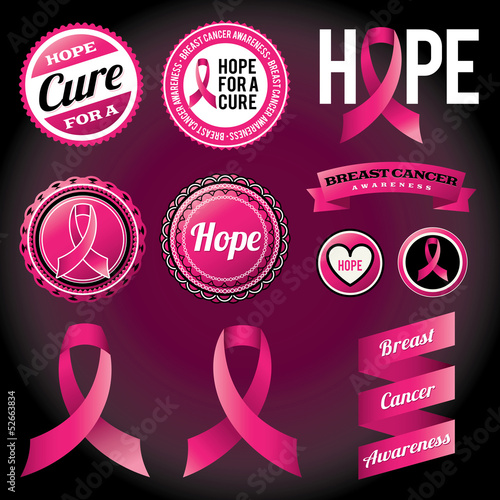 Breast Cancer Awareness Ribbons and Badges