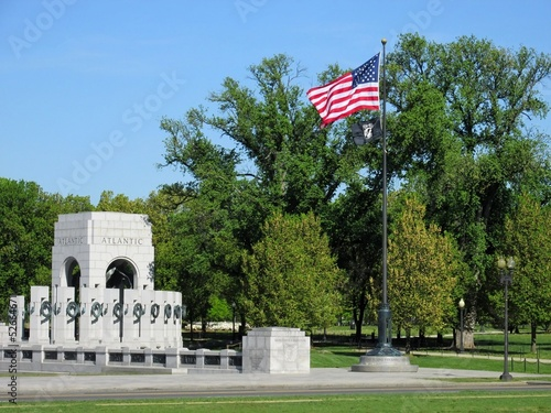 WW II memorial and american and POW flags flying