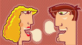 woman and man faces with bubbles for text.Vector portraits illus