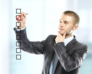 businessman choosing one of three options
