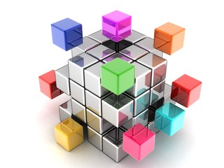 The construction of the cube of the blocks in 3-d visualization