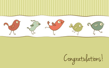 Funny birds greeting card