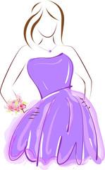 Prom girl in purple dress