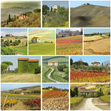 country houses in  scenic tuscan landscape  - collage