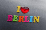 i love berlin spelled out using colored fridge magnets