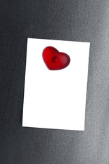 blank note card clipped magnet heart