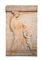 Marble grave stele shows a girl offering a bird to a boy (420BC)